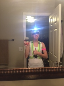Reflective vest, headlamp, hat with lights and a blinking armband....ready to run!