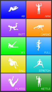 Home screen of Daily Workout App. So many options!